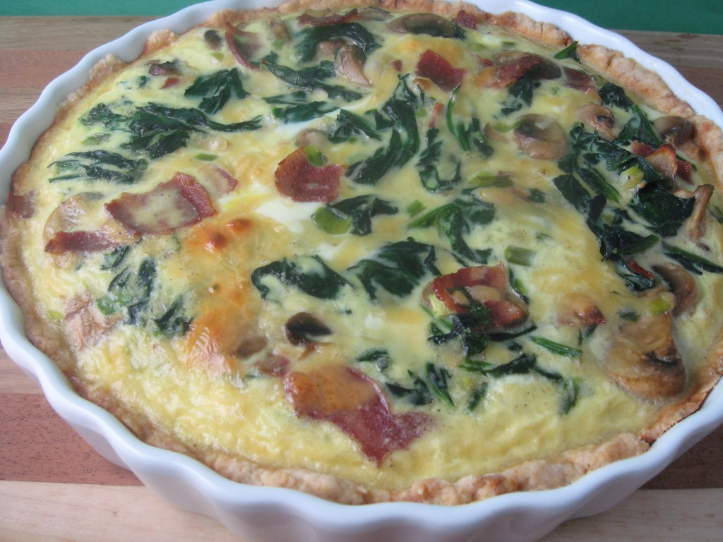 Spinach, Bacon, Mushroom and Gouda Quiche - Kitchen Meets Girl