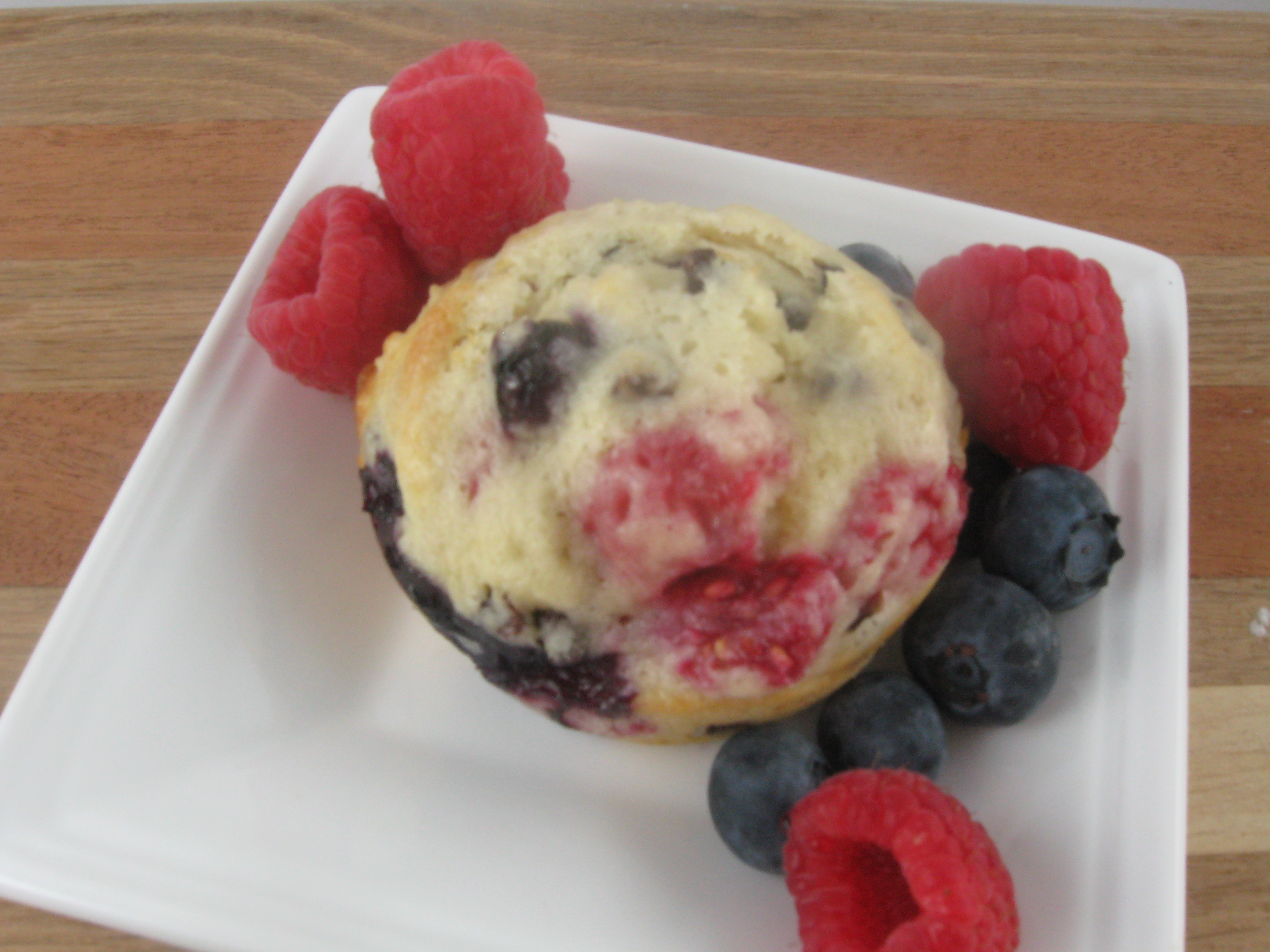 Sugar-Crusted Raspberry-Blueberry Muffins | Kitchen Meets Girl