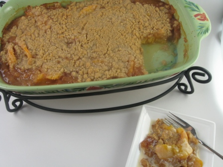 Peach Crisp With Maple Cream Sauce | Kitchen Meets Girl