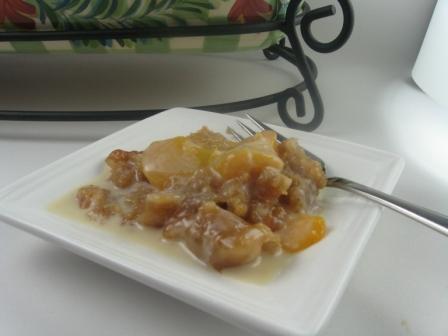 Peach Crisp With Maple Cream Sauce   Kitchen Meets Girl